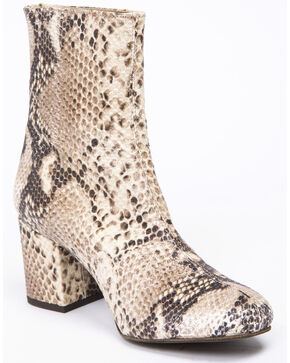 Free People Women's Cecile Fashion Booties - Round Toe, Python, hi-res