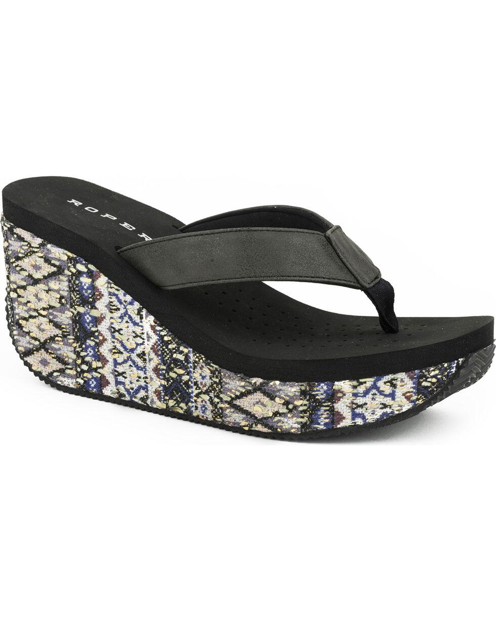 Roper Women's Gina Wedge Sandals, Black, hi-res