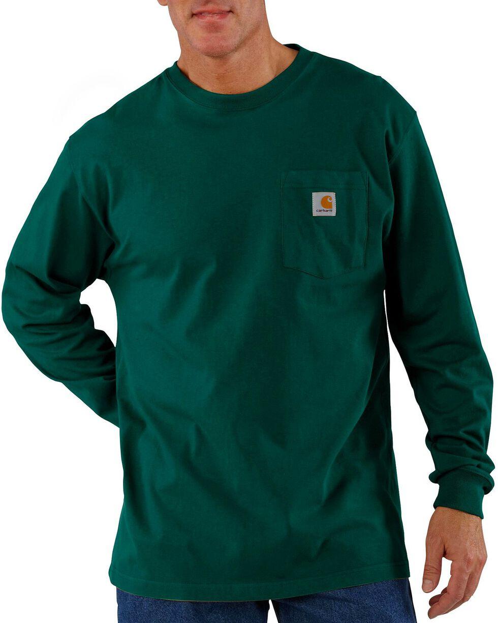 Carhartt Men's Long Sleeve Work T-Shirt, Green, hi-res