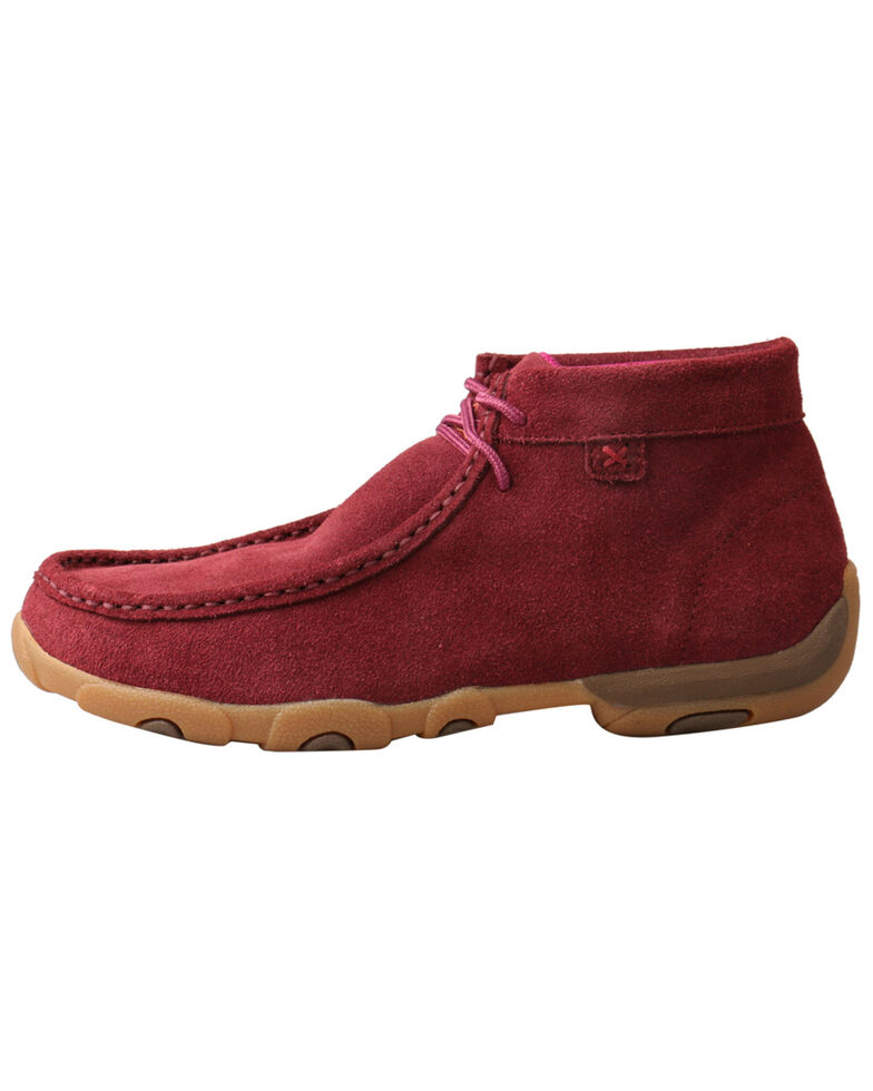 Twisted X Women's Wine Driving Shoes - Moc Toe, Black Cherry, hi-res