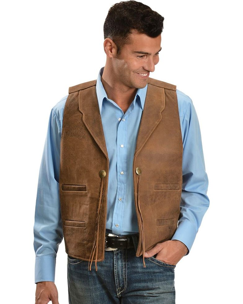 Scully Concho Leather Vest, Brown, hi-res
