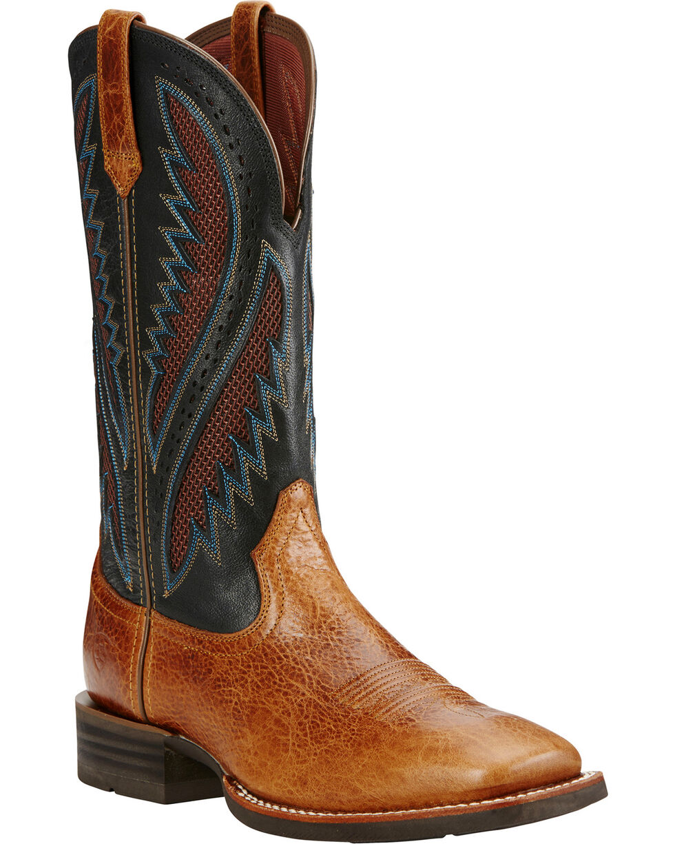 Ariat Men's VentTEK Quickdraw Square Toe Western Work Boots, Tan, hi-res