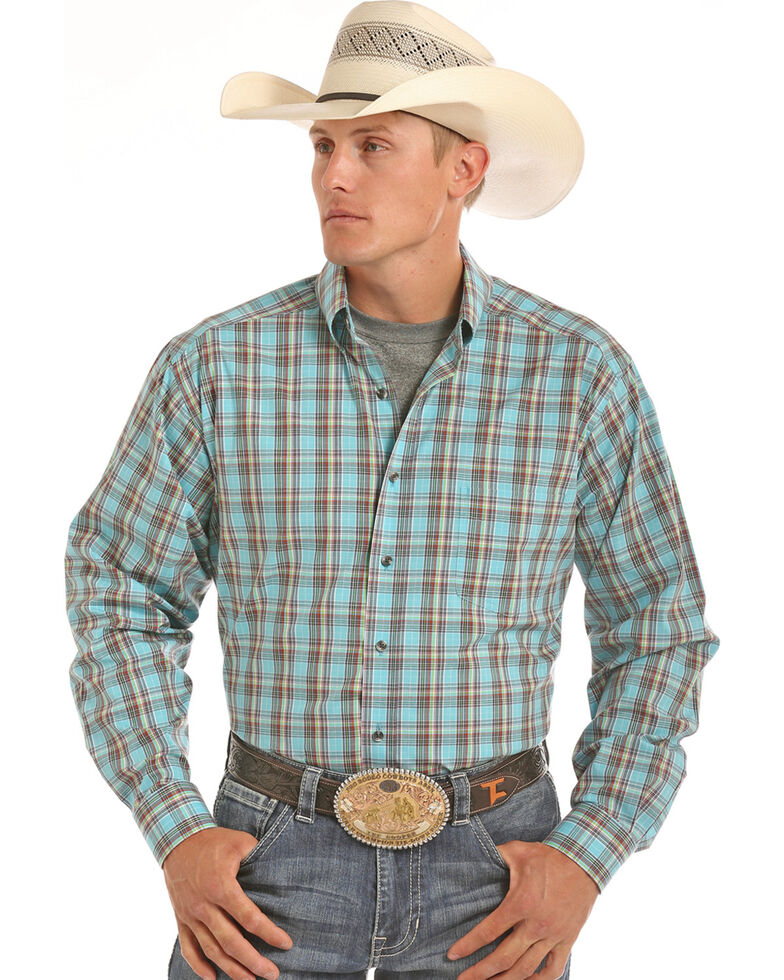 Tuf Cooper Men's Blue Plaid Competition Long Sleeve Western Shirt , Blue, hi-res