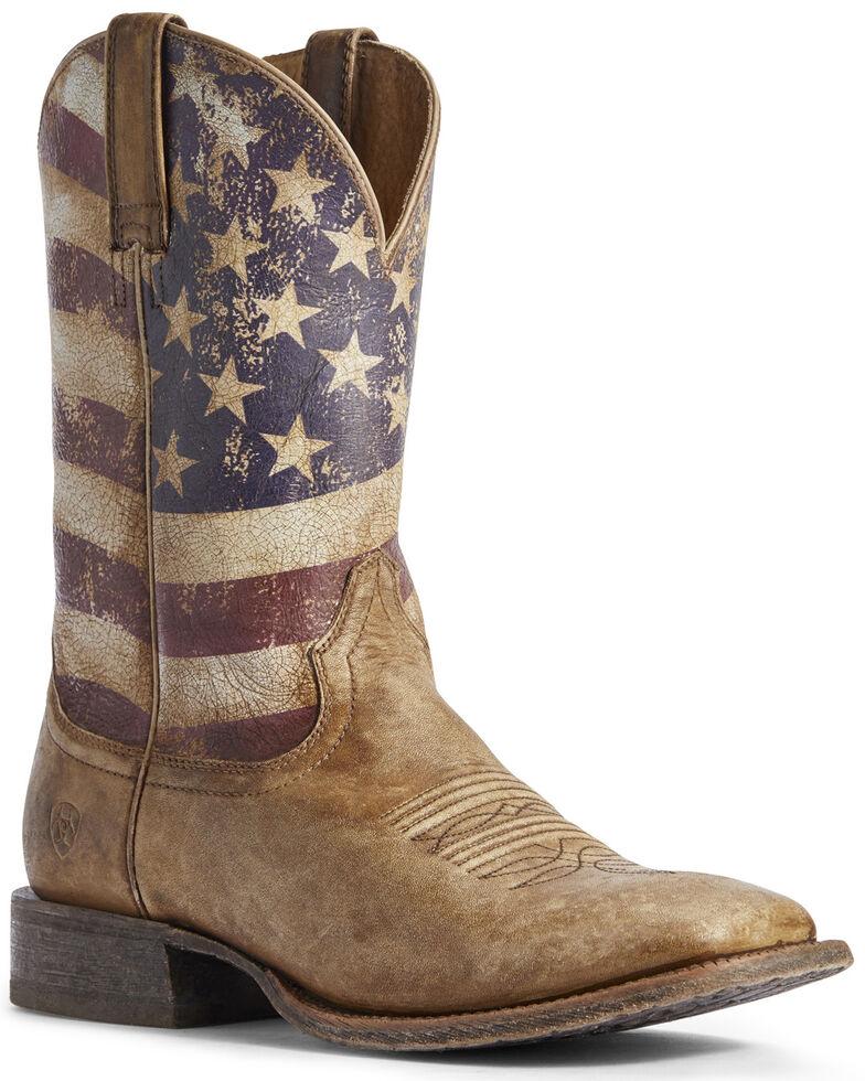 Ariat Men's Circuit Proud American Flag Western Boots - Wide Square Toe, Brown, hi-res