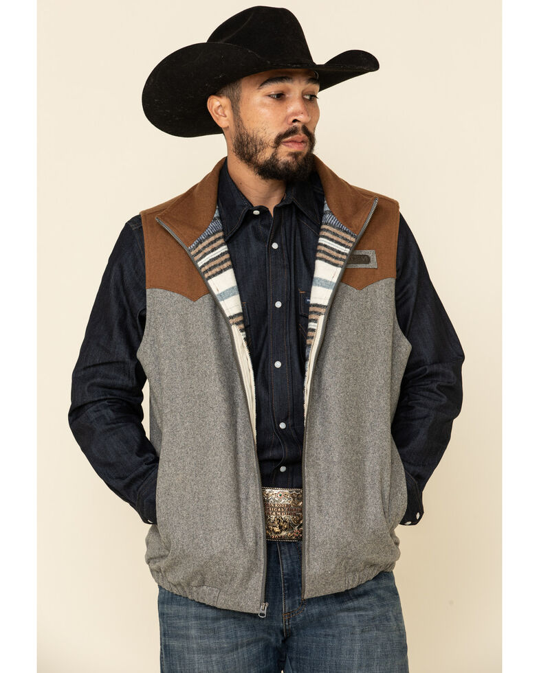 Cinch Men's Multi Color Blocked Concealed Carry Wool Blanket Vest - Big , Multi, hi-res