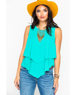 Panhandle Women's Solid Crepe Double Layer Flutter Tank , Teal, hi-res