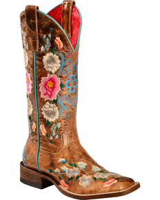 Macie Bean Women's Rose Garden Cowgirl Boots - Square Toe, Honey, hi-res