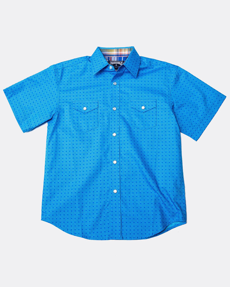Panhandle Select Boys' Blue Peached Poplin Print Short Sleeve Western Shirt , Blue, hi-res