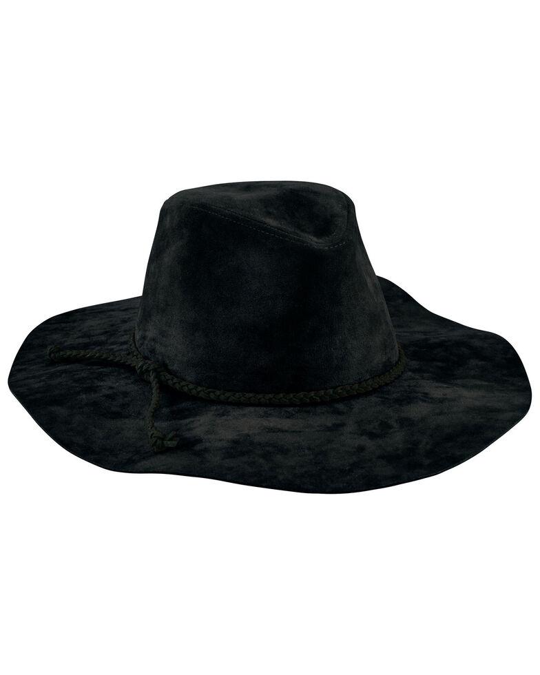 San Diego Hat Company Women's Faux Suede Braided Floppy Fedora Hat, Black, hi-res