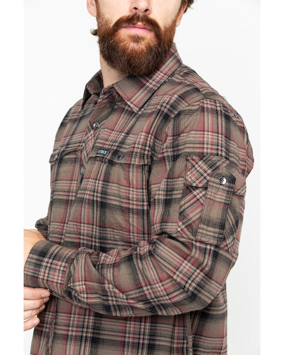 Outback Trading Men's Plaid Laramie Perf. Long Sleeve Western Shirt , Olive, hi-res