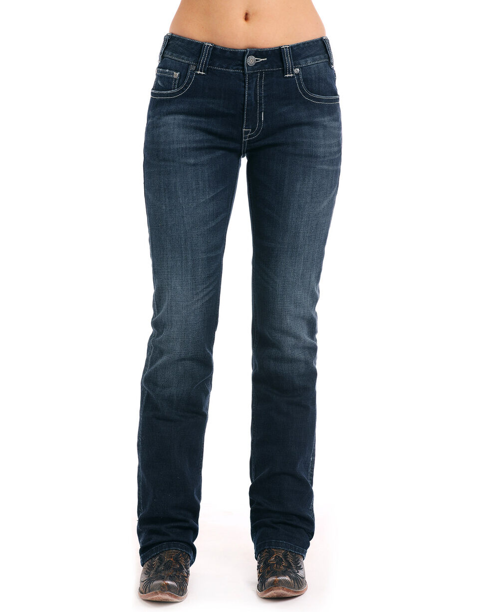 Rock & Roll Cowgirl Women's Boyfriend Boot Mid-rise Jeans, Blue, hi-res