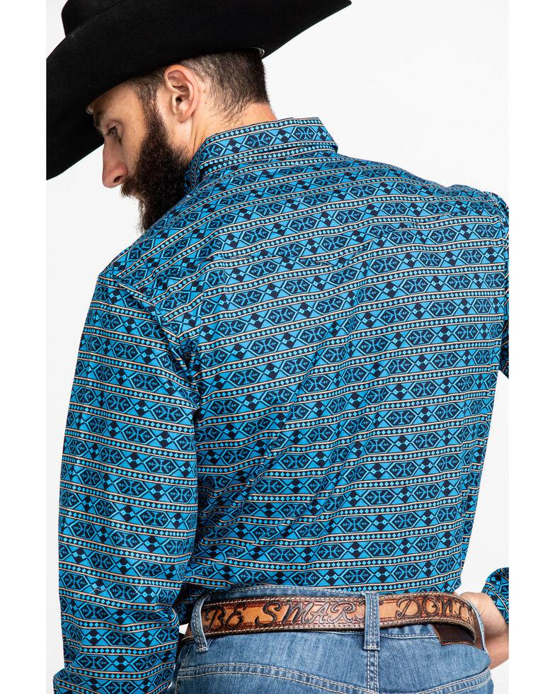 Roper Men's West Made Hex Aztec Print Long Sleeve Western Shirt , Blue, hi-res