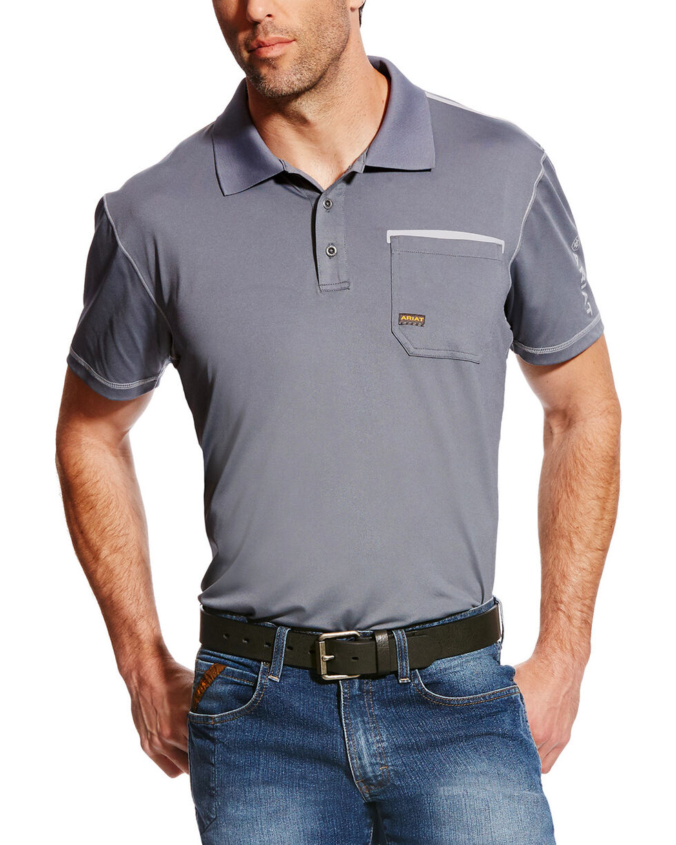 Ariat Men's Rebar Freeze Point Polo, Grey, hi-res