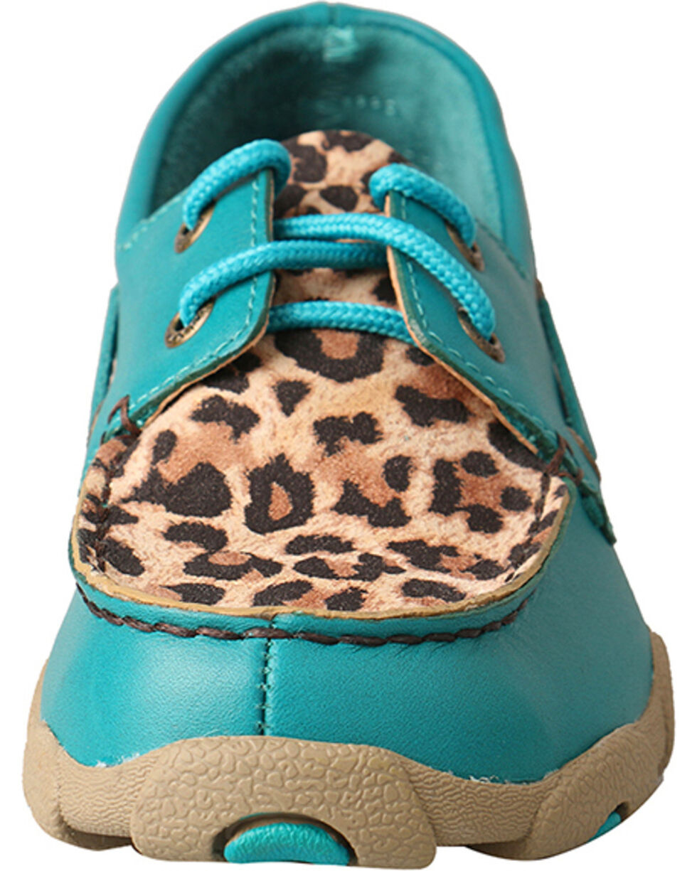 Twisted X Kids' Cheetah Print Driving Mocs, Turquoise, hi-res