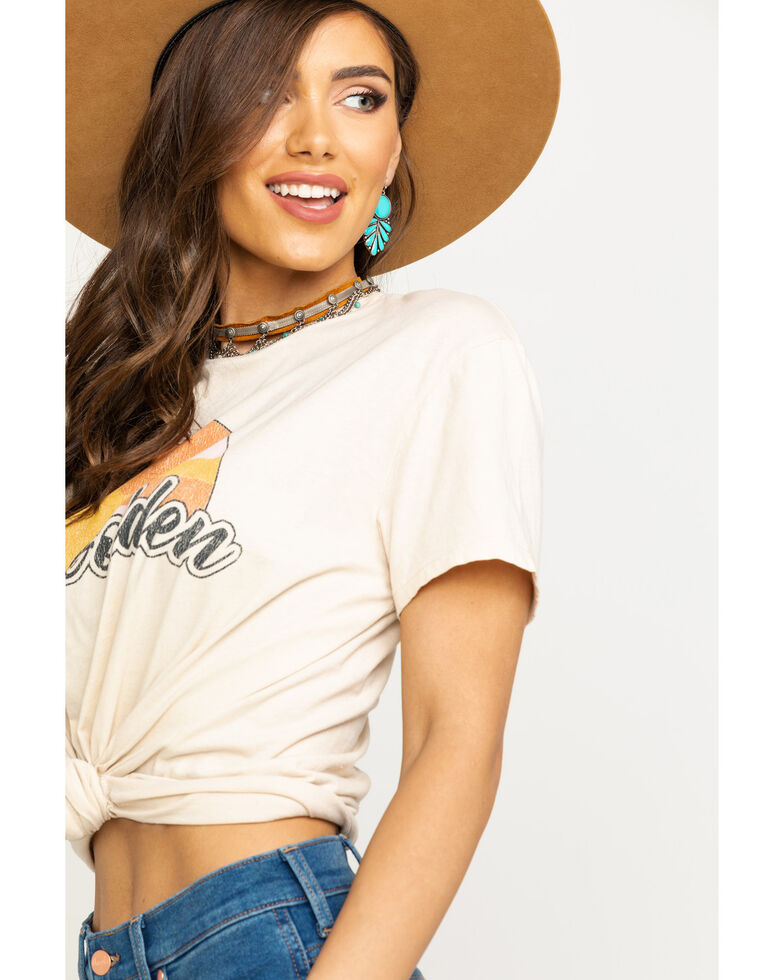 Show Me Your Mumu Women's Stay Golden Graphic Tee, Tan, hi-res
