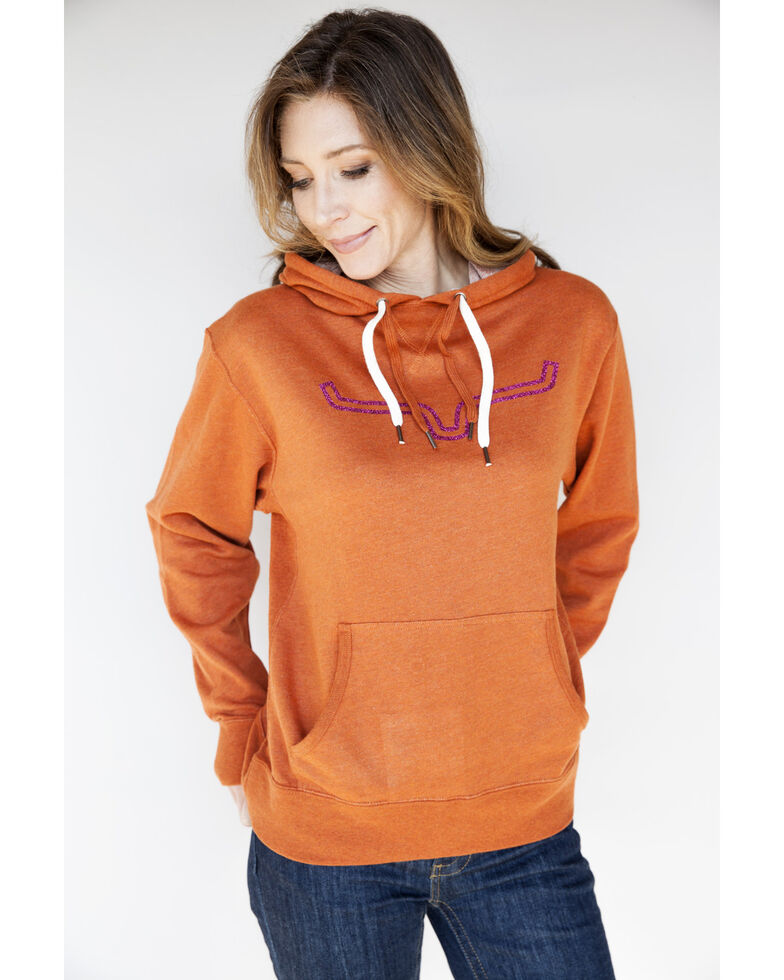 Kimes Ranch Women's Stardust Glitter French Terry Hoodie, Orange, hi-res
