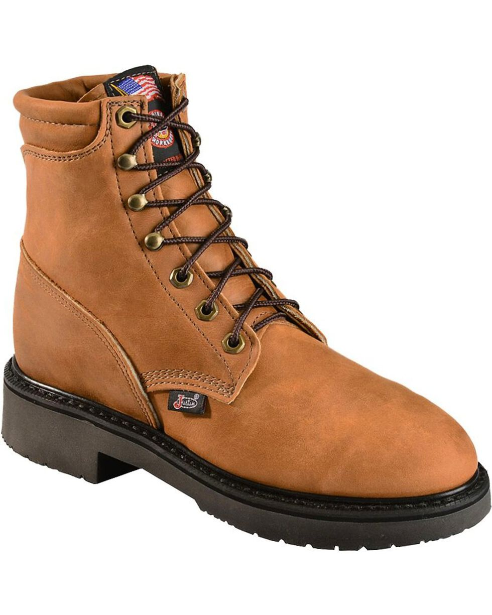 "Justin Women's 6"" Lace-up Logger Boots, Brown, hi-res"