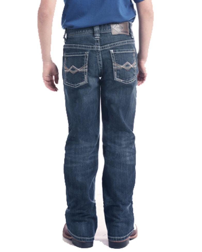 Rock & Roll Cowboy Boys' Diamond Pocket Dark Bootcut Jeans , Blue, hi-res