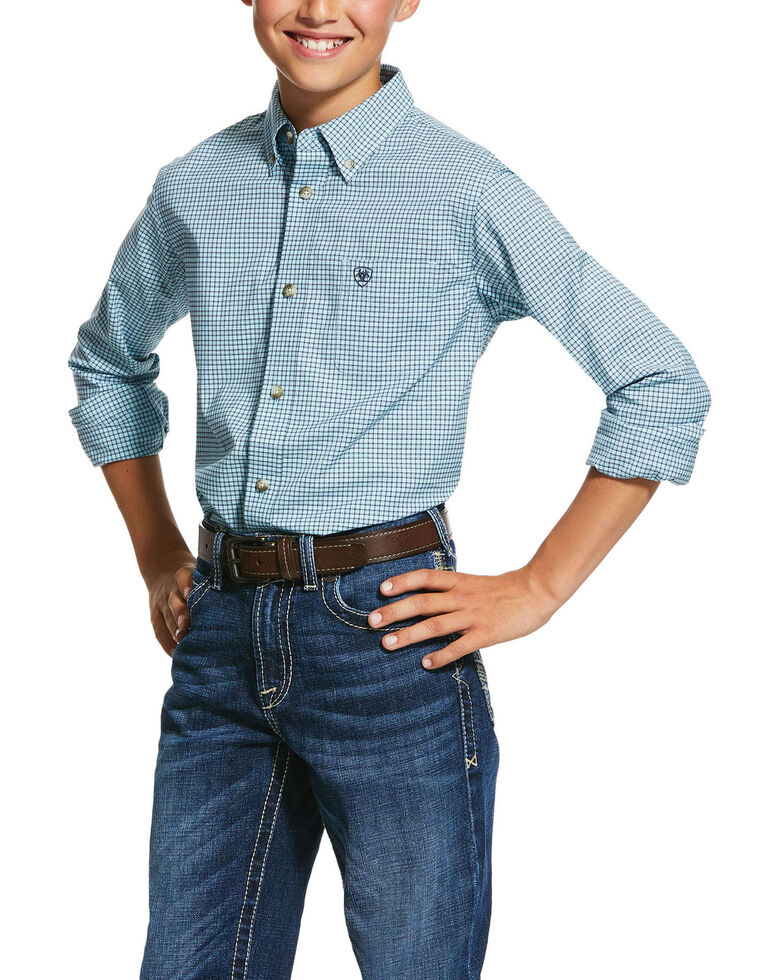 Ariat Boys' Novato Small Plaid Long Sleeve Western Shirt , Blue, hi-res