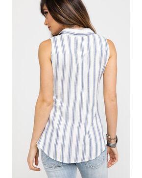 Shyanne Women's Striped Lace Trim Sleeveless Top , Blue, hi-res
