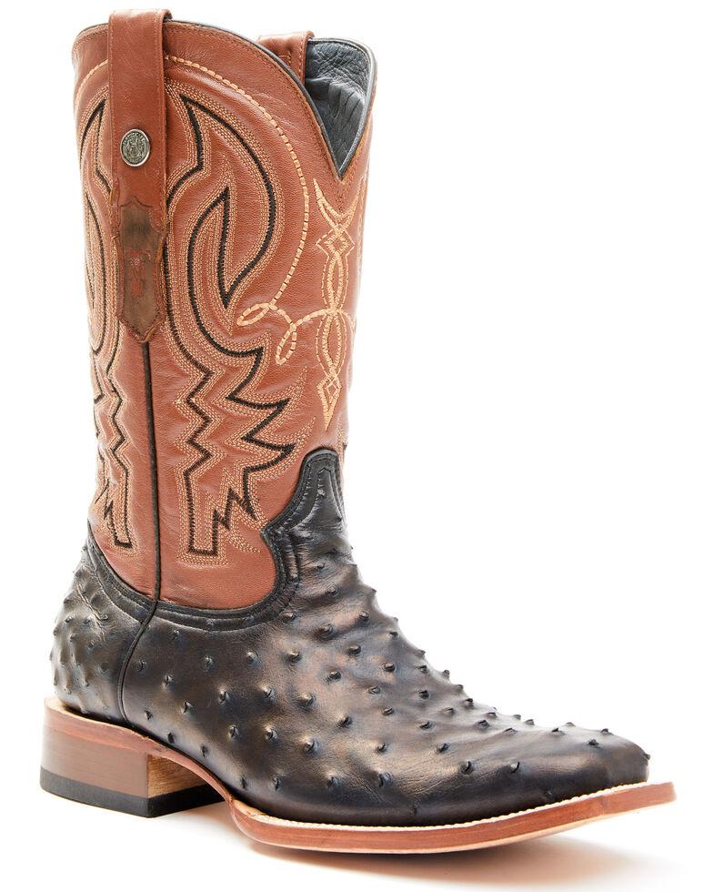Tanner Mark Men's Faux Ostrich Print Western Boots - Wide Square Toe, Cognac, hi-res