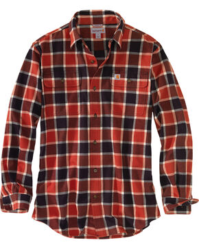 Carhartt Men's Hubbard Plaid Flannel Work Shirt - Tall, Chilli, hi-res