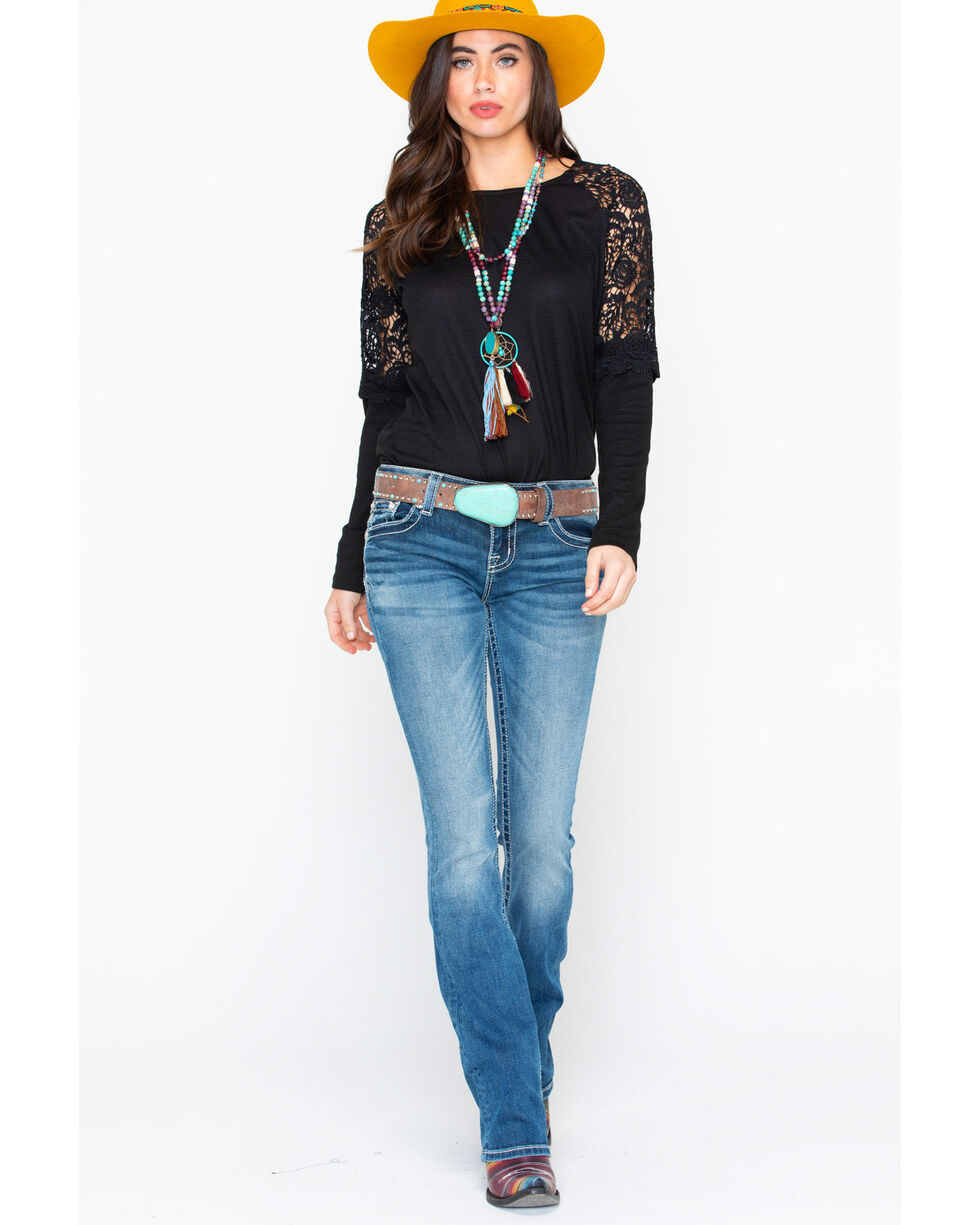 Miss Me Women's Denim Embroidered Pocket Boot Jeans  , Blue, hi-res