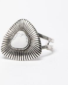 Shyanne Women's Blue Falls Triangular White Concho Cuff Bracelet, Silver, hi-res