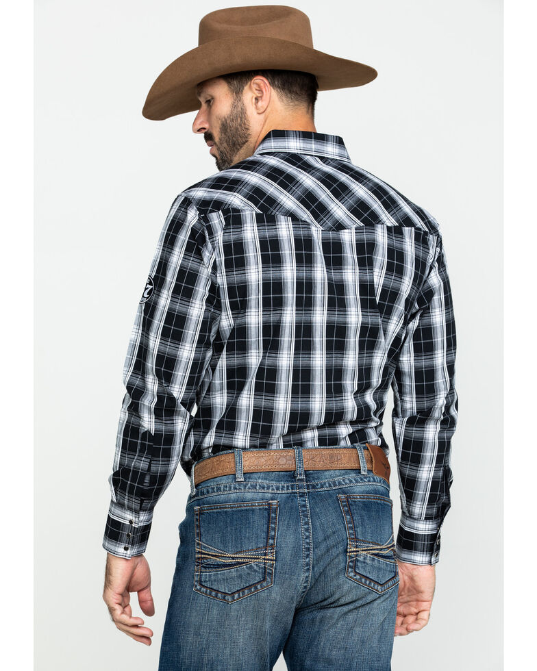 Jack Daniel's Men's Embroidered Logo Large Plaid Long Sleeve Western Shirt , Black, hi-res