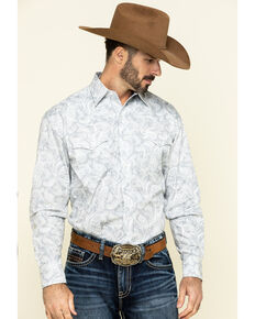 Stetson Men's Plum Paisley Print Long Sleeve Western Shirt , Grey, hi-res