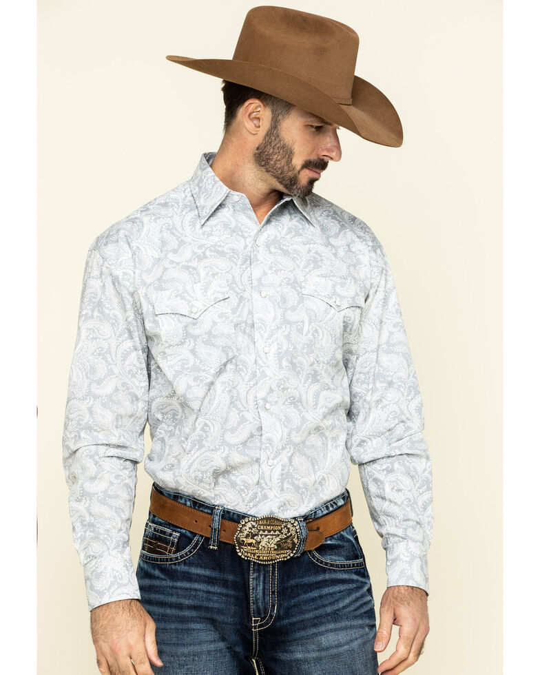 Stetson Men's Plum Paisley Print Long Sleeve Western Shirt , , hi-res