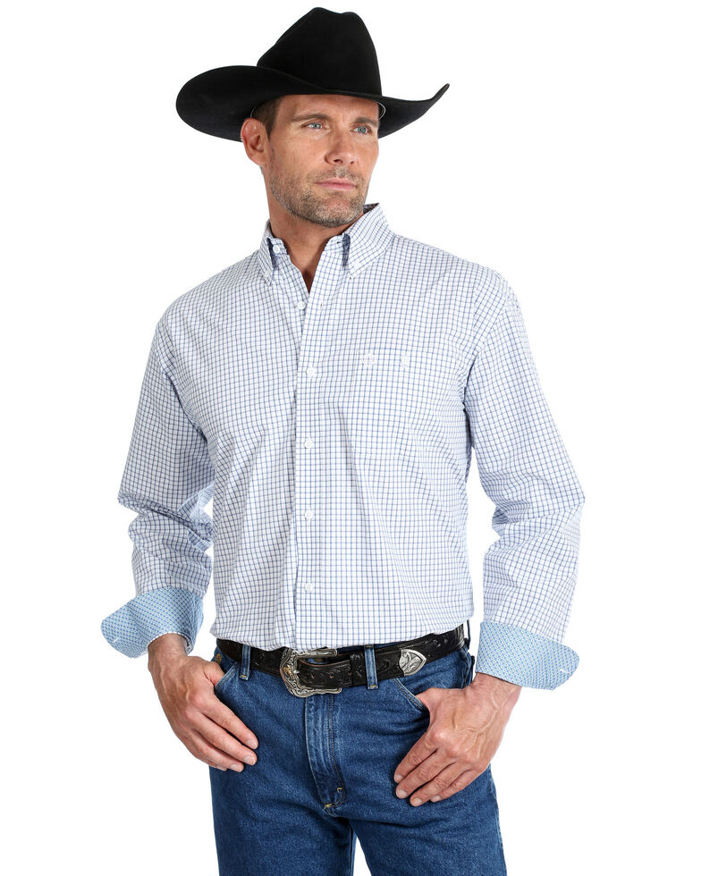 George Strait By Wrangler Men's Mini Check Plaid Button Long Sleeve Western Shirt , Blue/white, hi-res