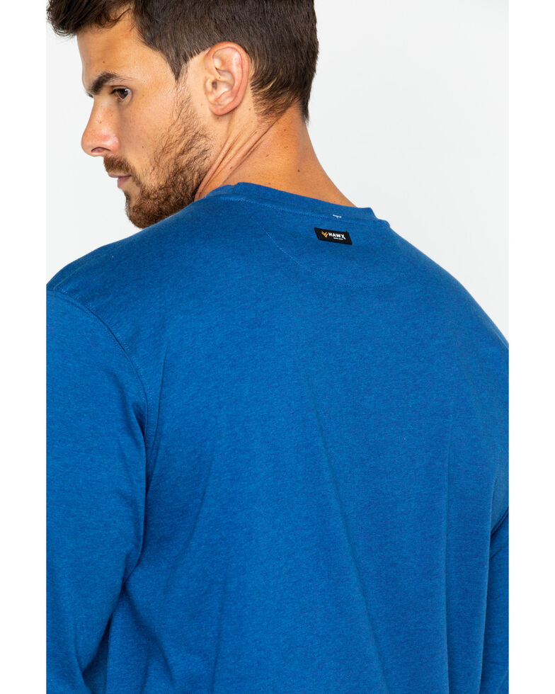 Hawx® Men's Logo Crew Long Sleeve Work T-Shirt , Heather Blue, hi-res