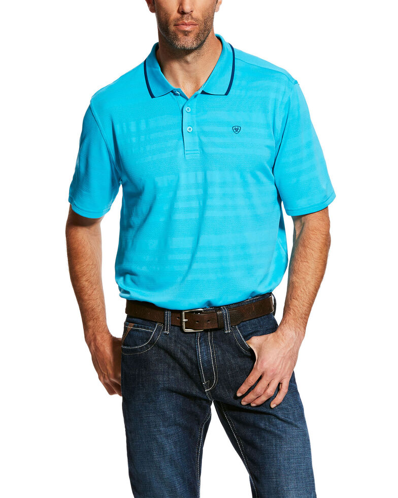 Ariat Men's Blue Edge TEK Striped Polo Shirt , Blue, hi-res