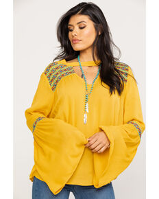 Rock & Roll Cowgirl Women's Mustard Bell Sleeve Top , Dark Yellow, hi-res