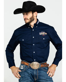 Wrangler Men's Navy NFR Logo Long Sleeve Western Shirt , Navy, hi-res