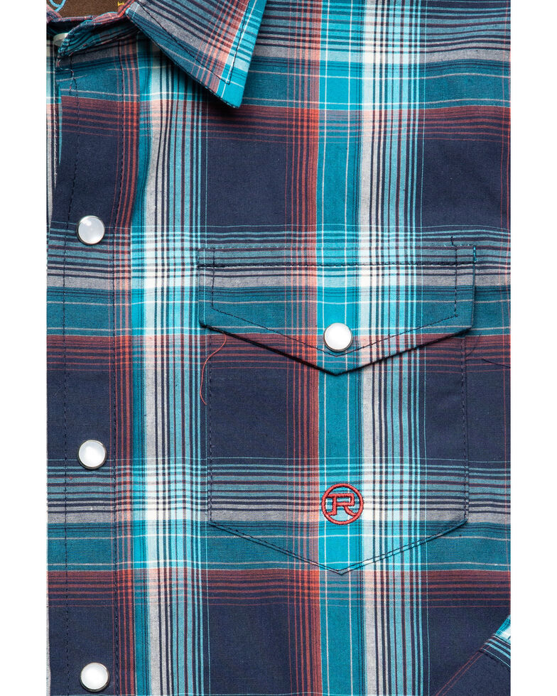 Roper Boys' Amarillo Plaid Long Sleeve Western Shirt , Blue, hi-res