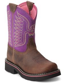 Ariat Kid's Thunderbird Fatbaby Western Boots, Brown, hi-res