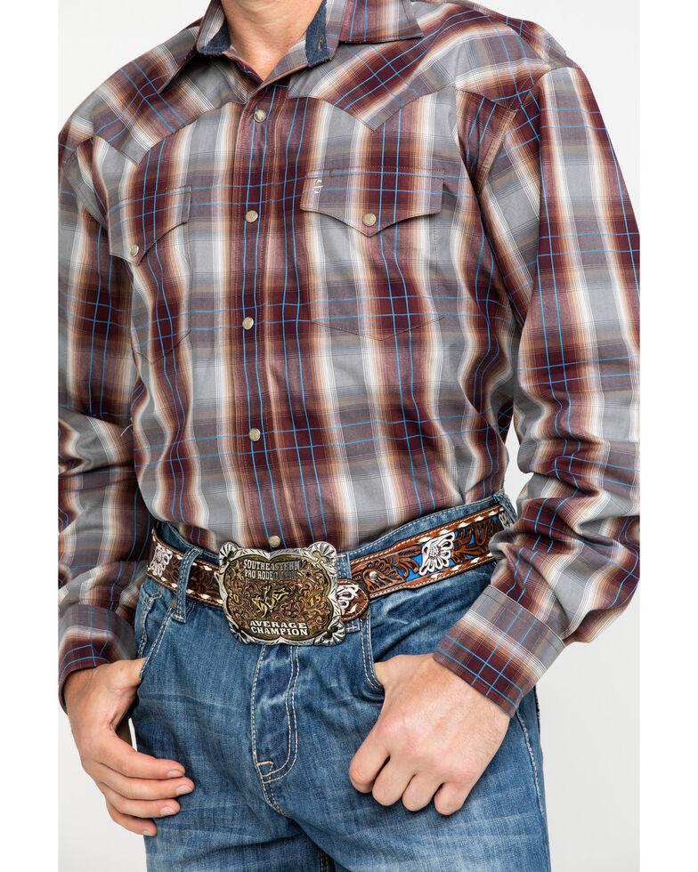 Stetson Men's Mahogany Ombre Plaid Long Sleeve Western Shirt , Brown, hi-res
