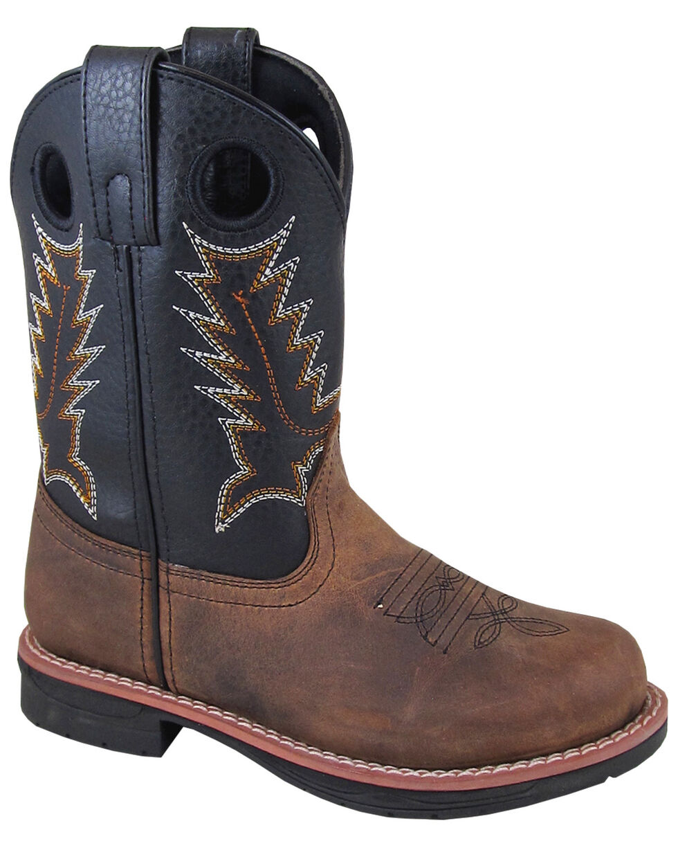 Smoky Mountian Boys' Buffalo Western Boots - Round Toe, Brown, hi-res