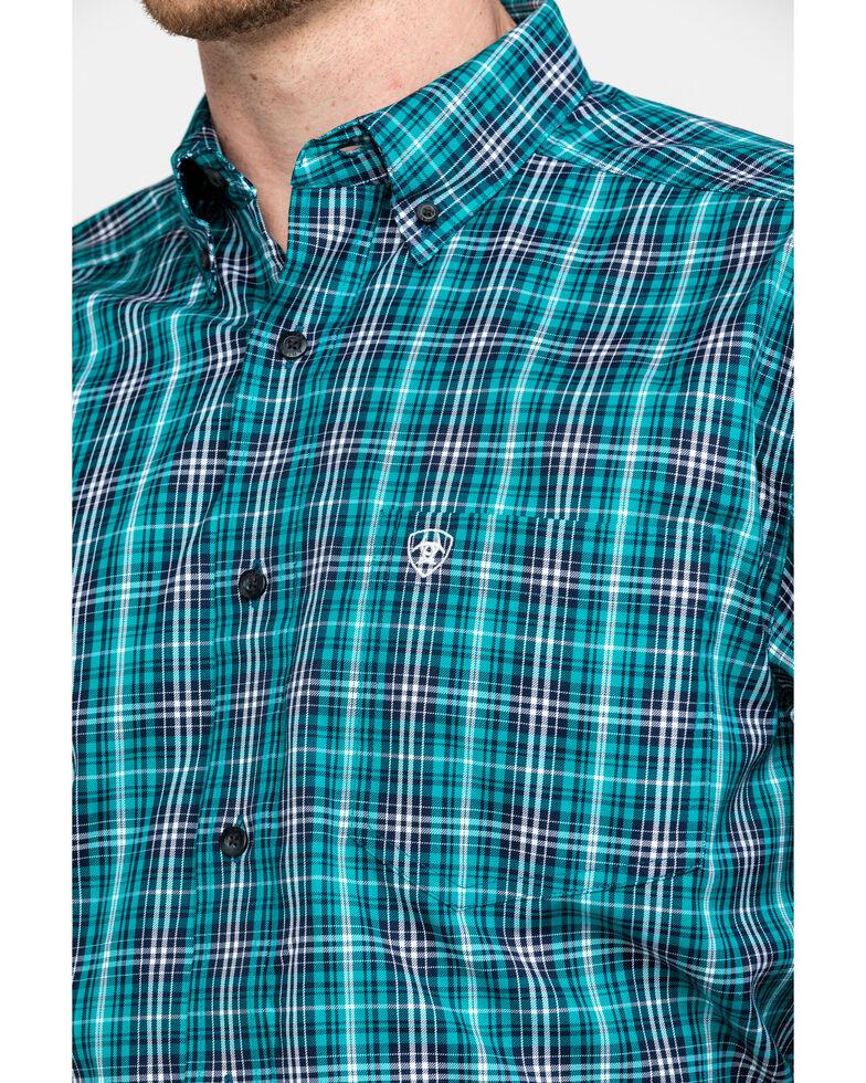 Ariat Men's Rooks Med Plaid Long Sleeve Western Shirt - Big , Turquoise, hi-res
