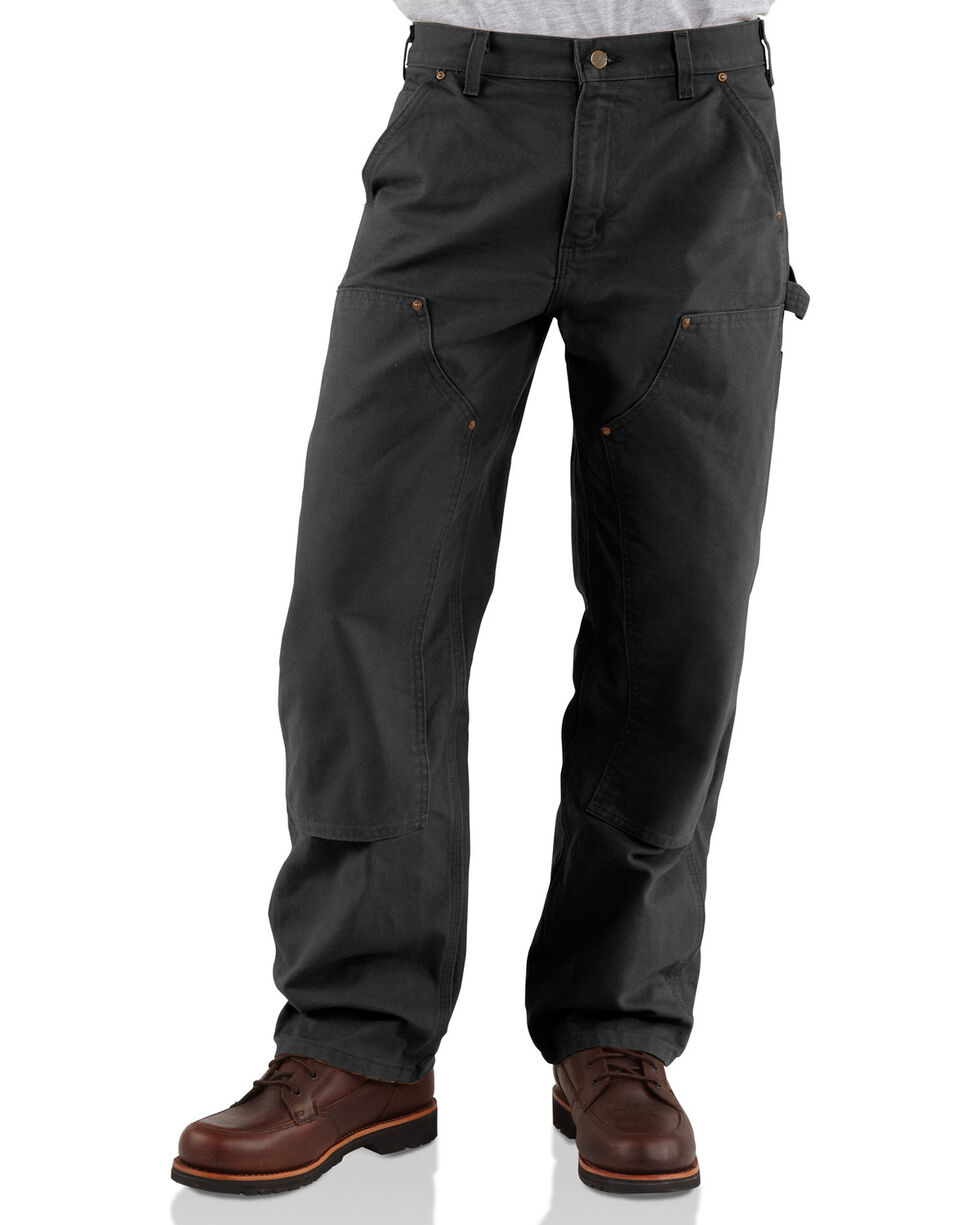 Carhartt Men's Double Front Washed Dungaree work Pants, Black, hi-res