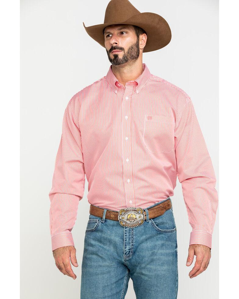 Cinch Men's Coral Tencel Striped Long Sleeve Western Shirt , Coral, hi-res