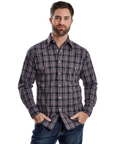 Wrangler Men's Wrinkle Resist Multi Plaid Long Sleeve Western Shirt , Grey, hi-res