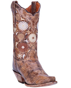 Dan Post Women's Pinwheel Western Boots - Snip Toe, Tan, hi-res