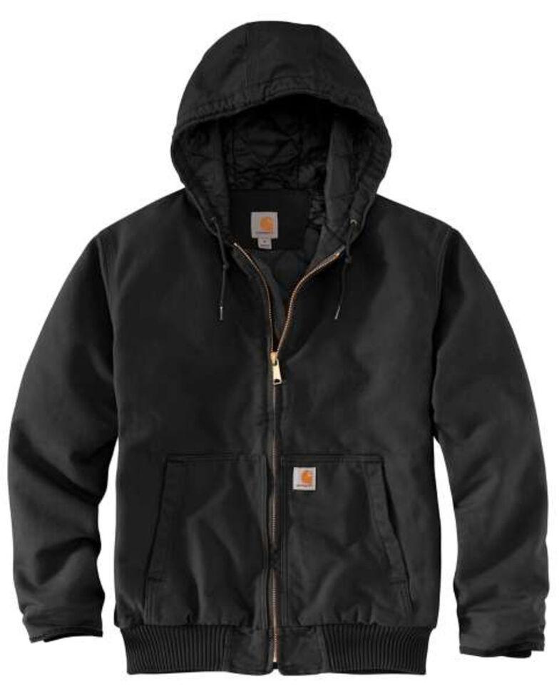 Carhartt Men's Black Washed Duck Active Hooded Work Jacket - Big , Black, hi-res
