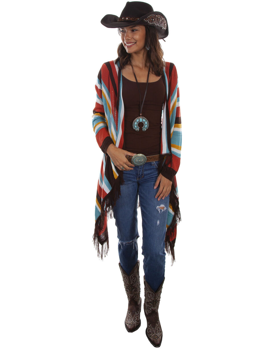 Honey Creek by Scully Women's Striped Open Front  Sweater Duster , Multi, hi-res