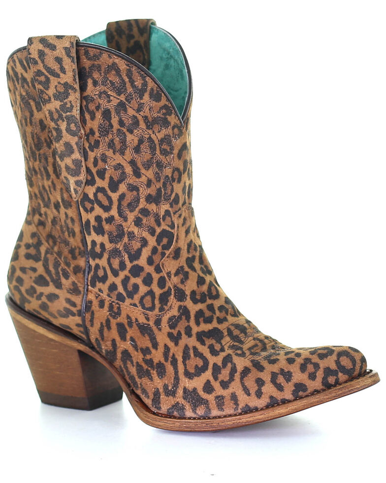 Corral Women's Leopard Print Embroidery Western Booties - Snip Toe, Multi, hi-res