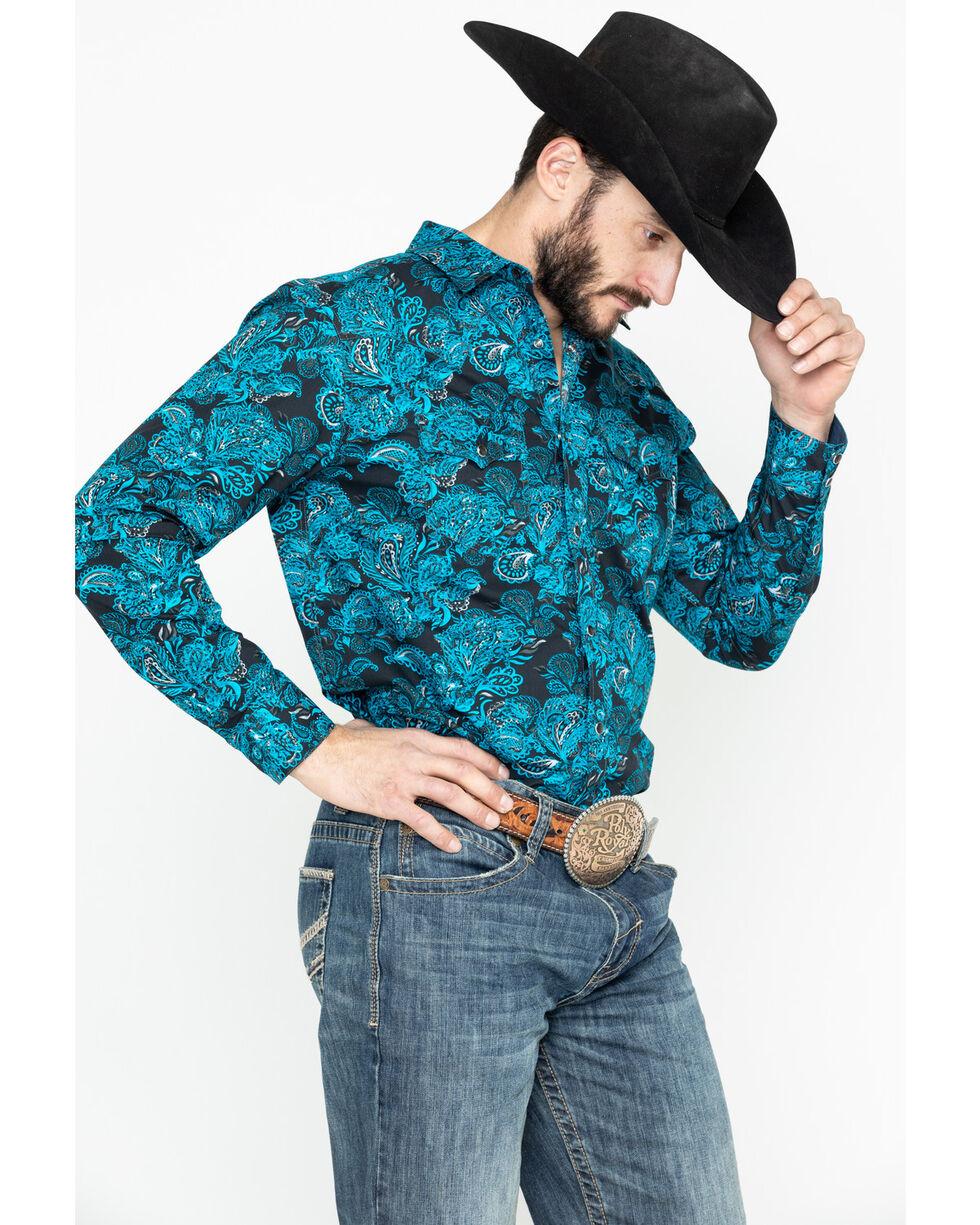 Cody James Men's Black El Matador Paisley Print Long Sleeve Western Shirt, Black, hi-res