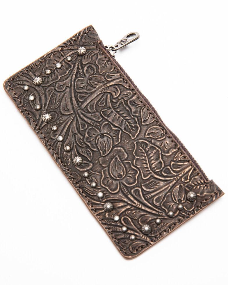 Shyanne Women's Maisie Metallic Tooled Slim Credit Card Wallet , Coffee, hi-res